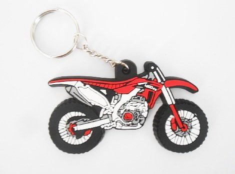 Keychains Porte-clés - MOTO Honda color - Motocross red - Key Ring - Kautschuk Rubber Keyring - perfect also bags, wallets or briefcase - Give away