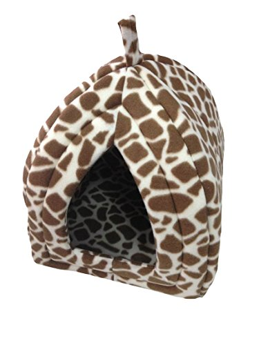 Ashley Mills Soft Fleecy Pet Puppy Dog Cat Rabbit Igloo Triangle Safari Brown Print Hut Removable Cover