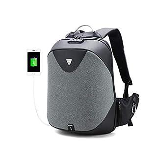 Charles Anti Theft Zoll-Schloss Laptop Rucksack Tasche mit USB-Ladehafen - Dark Grey