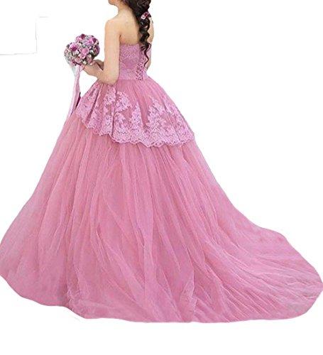 O.D.W Damen Vintage Rustikale Brautkleider mit Appliques Spitze Lange Farbig Hochzeitskleider (Rosa,...