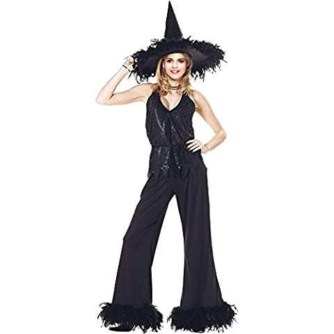 Witch Costume Adult - Halloween Fancy Ladies Glamour Witch Costume