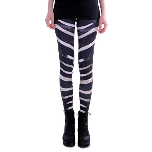 cosey - Leggings Colorati Stampati (Taglia Unica) - Design Zebra