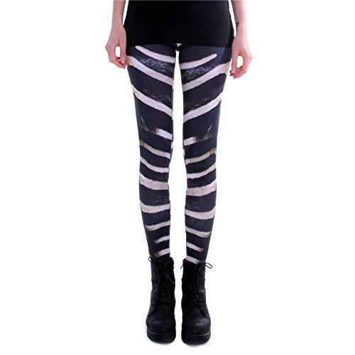 cosey - Bedruckte Bunte Leggins (Einheitsgröße) Verschiedene Leggings Designs, Zebra, Einheitsgröße (Streifen Stretch-rock)