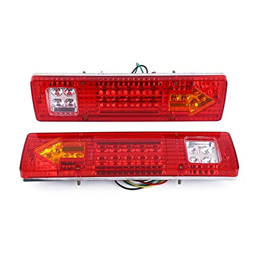 Qiilu Feux Arri/ères LED Clignotant Lampe 2Pcs 12V 46LEDs Feux de Frein Arri/ère Arr/êt Tournez Indicateur pour Voiture Camion Van