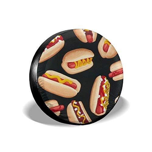 best& Tire Cover Hot Dogs Polyester Universal Spare Wheel Tire Cover Wheel Covers Jeep Trailer RV SUV Truck Camper Travel Trailer Accessories 14 inch