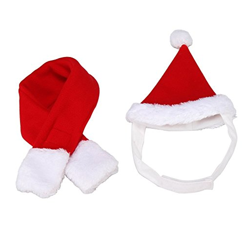 BbearT® Cat Dog Christmas Dress Up Clothes Hat Puppy Cat Holiday Accessory Christmas Costume (Red Hat Scarf Set, - Big Cat Ohren Kostüm
