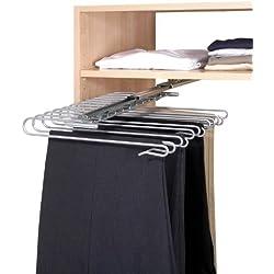 Wenko 5971100 Estraibile per armadio portapantaloni - per 12 paio di pantaloni, Metallo cromato, 33 x 10 x 47 cm, Argento lucido