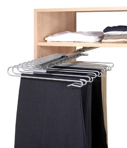 WENKO 5971100 Percha para pantalones con corredera para armario - para 12 pantalones, riel de corredera desmontable, Metal cromado, 33 x 10 x 47 cm, Plata brillante