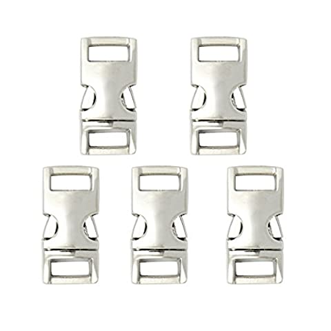 Easywisdom 5PCS 3/8 Inch (11mm) Silver Color Flat Side Release