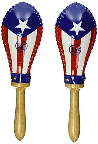 Latin Percussion LP862215 Salsa Rawhide Maracas - Puerto Rican Flag