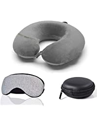 Trajectory 3 in 1 Travel Accessories Combo: Supercomfy Travel Grey Neck Pillow, Sleeping Eye Mask and Black Zipper Case for Earphone