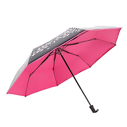 Extsud Ombrello Pieghevole Portatile da Viaggio Borsa, Ombrellino da Pioggia/Sole Resistente Anti-UV Anti-Vento, 8 Stecche Rinforzate 210T Panno Carom Impermeabile Idrorepellente Fiori Ciliegia ( Rosa Rossa, Apertura Manuale)