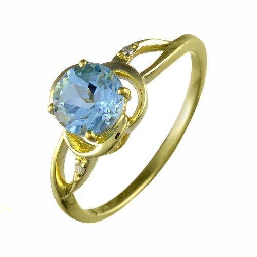 Ivy Gems Halskette 9 kt Gelbgold Sky Blue Topaz und Diamant Nouveau Rose Ring