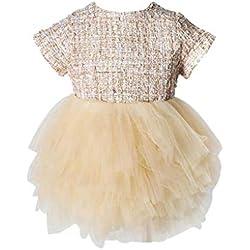 Xmiral Vestido Tutu para Actuaciones Baile para Bebes Niñas Regalo para Bautismo Reyes Dress Camisero Falda de Fiesta(Amarillo,3-6 Meses)