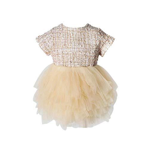 IZHH Kinder Kleider, Kleinkind Kinder Baby Mädchen Prinzessin Niedlich Mesh Röcke Party Pageant Tutu Kleid 6-3 T Baby Kleidung Gericht Wind Mesh Gaze Schöne Prinzessin Kleid(Gold,66)