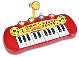 Bontempi-122931 Teclado electrónico de 24 Teclas y micrófono, Color Negro, Rojo, Blanco, Amarillo (Spanish Business Option Tradding 12 2931)