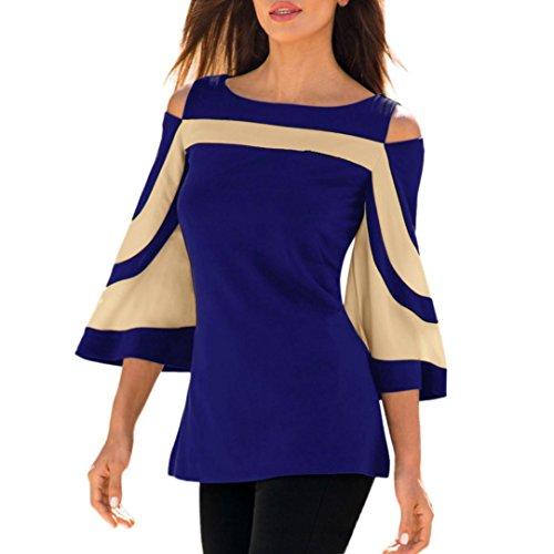 Honestyi Damen Blusen, Damen Elegant Kalte Schulter Lange Ärmel Sweatshirt Oberteile Bluse Hemd O-Asschnitt Baggy Streetwear T-Shirt Sweater Gemütlich Große Größe S-XXL (M, Blau)