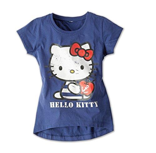 Hello Kitty Mädchen T-Shirt 100% Baumwolle Dunkelblau Kinder Öko-Tex (110/116)