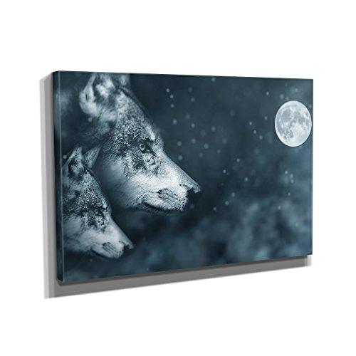 Nerdinger Vollmond Wölfe - Kunstdruck auf Leinwand (90x60 cm) zum Verschönern Ihrer Wohnung. Verschiedene Formate auf Echtholzrahmen. Höchste (Bilder Verschiedenen Nationalen Kostümen)