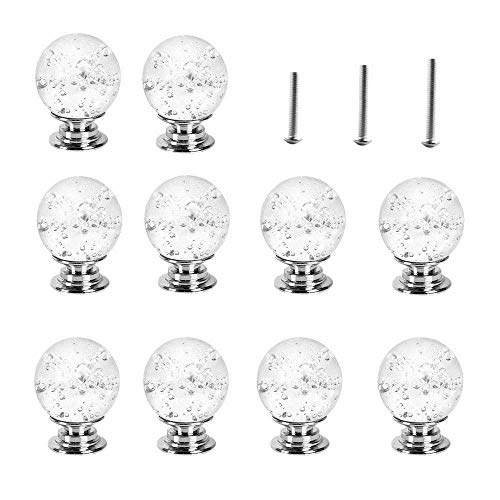 euwanyu 10 X 30MM Clear Crystal Glass Door Knobs with Bubbles,Door Handle Pull for Chest of Drawers (Transparent) - Transparent Glass Knob