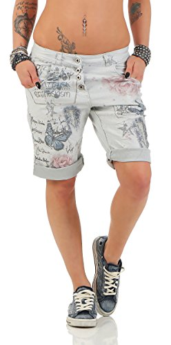 ZARMEXX Damen Caprihose Boyfriend Baggy Hose Jeggings Fantasy-Print Capri-Jogger (S(36), Hellgrau) (Capri Print-bluse)