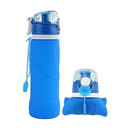 EINSKEY Trinkflasche Bpa Frei, 750ml Faltbare Auslaufsicher Silikon Flasche Wasserflasche für Radfahren, Camping, Reisen, Outdoor