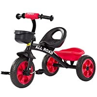 All Road Trikes CHILDS PEDAL TRIKE BLACK / RED Adjustable Seat Front & Rear Baskets 2 - 5 Years **F12 TRIKE RED**