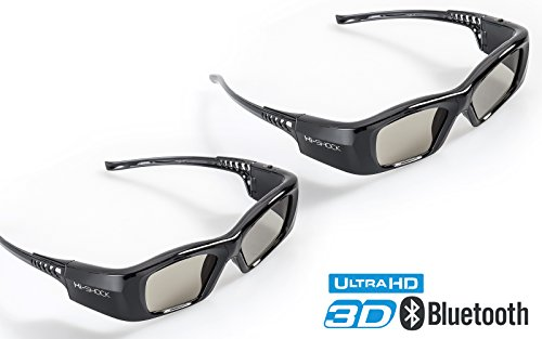2X Hi-SHOCK BT Pro Black Diamond | Aktive 3D Brille für 4K / HD 3D TV von Samsung, Panasonic | komp. mit SSG-3570 CR, TDG-BT500A [120 Hz | Akku
