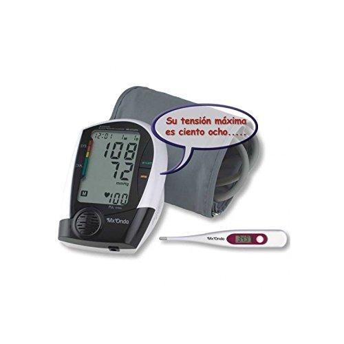 MX Onda mx-cp2395Oberarm-Blutdruckmessgerät mit locucion und Stimme + Thermometer digital, schwarz -