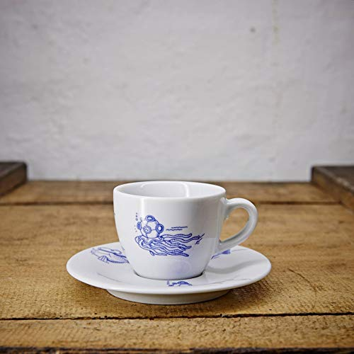 Espresso Tasse/Untertasse maritimes Design Fische - Porzellan blau-weiss von Ahoi Marie