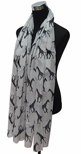 Lina & Lily Écharpe Foulard pour Femme Imprimé Girafe Blanc