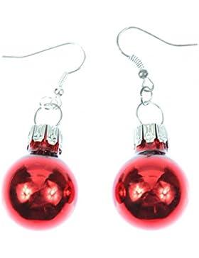 Weihnachtsbaumkugeln Ohrringe Miniblings Christbaumkugeln Weihnachten rot Glanz