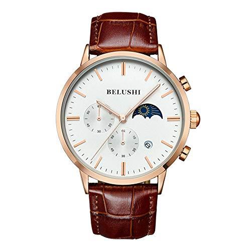 Herrenuhren Chronograph DREI Sub-Zifferblätter Mondphase Kalender Armbanduhren für Herren Lederband Luxus, Braun