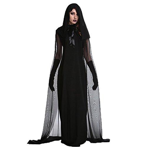 (Costour Damen Kostüm für Karneval Halloween Zombie Braut Halloween Vampir Kostüm Dress Set (S, Schwarz))