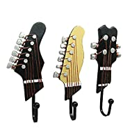 Lvcky Vintage Guitar Shaped Decorative Hooks Rack Wall Coat Racks Hangers Hanging Clothes Coats Towels Keys Hats Metal Resin Hooks Wall Mounted Heavy Duty (3-Pack)