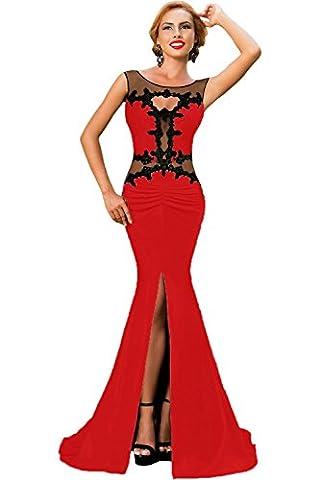Elegant Ladies Long Red & Black Lace Applique Evening Cocktail Prom Dress Party Dance Club Wear Size M