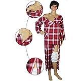 Damenpflegekleidung, geeignet für die Hospitalisierung, Bettlatzpatienten, Ältere, Frühling und Herbst, leicht abzuwehren (Zwei Stücke),Redplaid,M