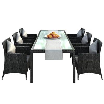 """Gartenmoebel Essgruppe Rattan Dinning Set in Aluminium """"Rostfrei"""" Nizza-black (Tisch:2m + 6 Stühle + Tischläufer) Rattan Polyrattan Garten Gartenausstattung von Jet-Line"""