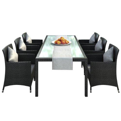 Jet-Line Nizza black Ensemble de jardin en rotin et aluminium antirouille avec 6 chaises, table 2 m et chemin de table