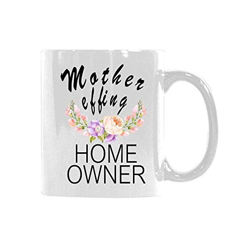 VTYOSQ Floral Quotes Mug Mother Effing Home Owner Coffee Mug Tea Cup Best Gift Idea for Mom/Girlfriend/Her/Friends/Coworkers 11 Ounce Ceramic White