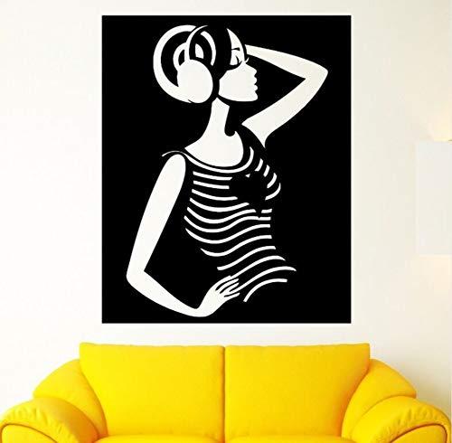 Ponana Home Decor Art Beautiful Girl Wall Sticker Removable Vinyl Girl Music Stereo Headphones Wall Decals Music Design Mural 57X70Cm -