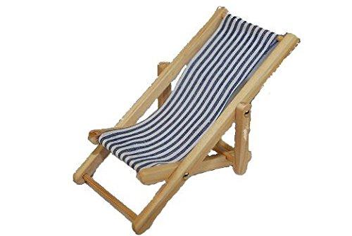 Liegestuhl - Miniatur für Puppenstube / Puppenhaus Maßstab 1:12 - Strandmöbel - Gartenmöbel -...
