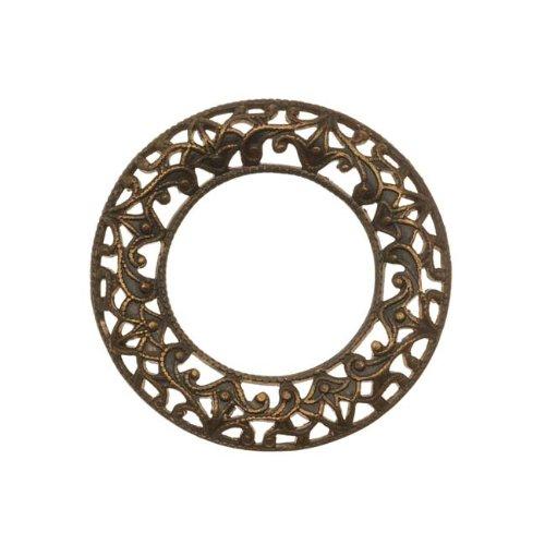 Vintaj : pendentif cercle / anneau filigrané en laiton naturel 28 mm (1)