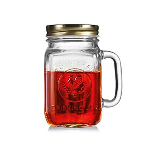 KUQIQI Bierkrüge, Bierkrüge, Bierglaswaren, Bierkrug, Glas, Hahnenbecher, Trinkglas, Saftbecher, Kaffeetasse, Teetasse, Mason Cup, Vintage Canned Cup, Mit Deckel, Einzelpackung Vintage Pilsner Set