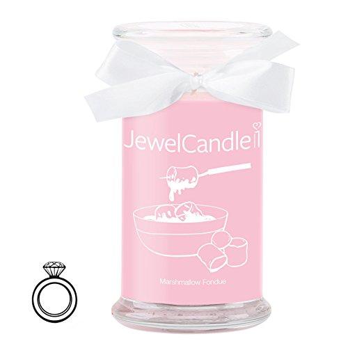 Jewelcandle marshmallow fondue - candela in vetro con un gioiello - candela profumata rosa con una sorpresa in regalo per te (anello in argento, tempo di combustione: 90-125 ore)(s)