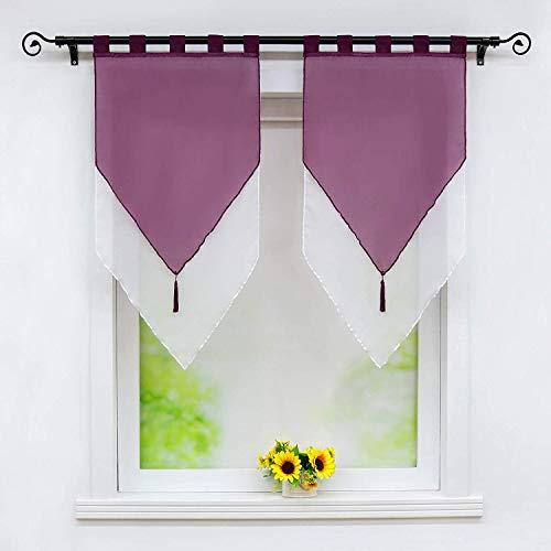 Weimilon tende a fessura voile bistrogardinen con elegante unico nappe panneaux bicolore doppio strato shortstore con passanti bxh 60x90cm 2 (color : violett/white, size : hxb 45x90)