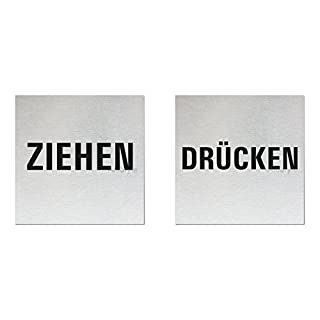 Ofform - Alustyle Türschild   Wortschild   Hinweisschilder -Ziehen - Drücken-   2er-Set   Aluminium Edelstahlschilder-Optik   Format 80x80 mm   Nr.11906-S