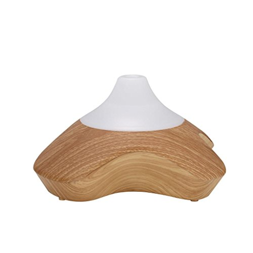 GX Diffuser Difusor de Aceites Esenciales Electrico Aromaterapia Humidificador Dispensador Fragancias con Sonido de Respuesta LED para Dormitorio Madera Clara