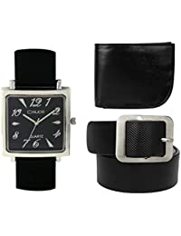 Crude Combo Of Analog Black Dial Watch-rg725 With Black Leather Belt & Wallet For Men's & Boy's