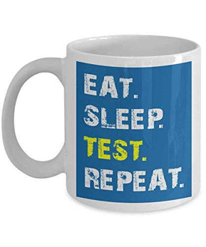Funny Computer Programmer Mug, Coffee Mug 11 OZ - Eat Sleep Test Repeat - Test Software Engineer Gifts for Men, Dad, Father, Him, Husband from Wife for Father\'s Day or Birthday - Ceramic